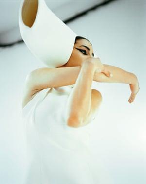 A Jasmin Vardimon dancer in a Stephen Jones costume
