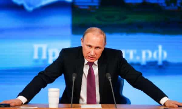 Vladimir Putin in a TV studio