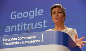 Denmark's EU commissioner for competition, Margrethe Vestager