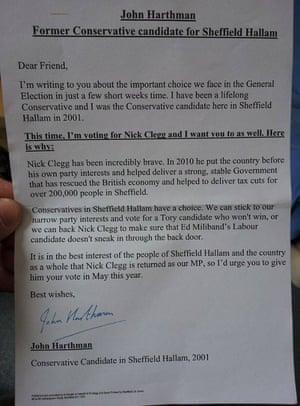 Letter written by John Harthman to voters in Sheffield Hallam