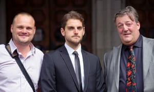 Paul Chambers (centre) and his celebrity defendants Al Murray and Stephen Fry.