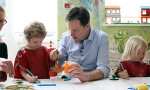 Liberal Democrat leader Nick Clegg at a nursery in his Sheffield constituency