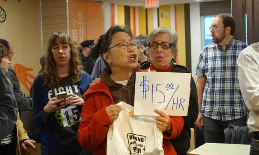 minimum wage protest san francisco