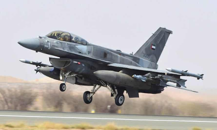 A handout image from the United Arab Emirates News Agency (WAM) shows a fighter jet of the UAE armed forces taking off from an air force base before raids against Houthi rebels in Yemen.