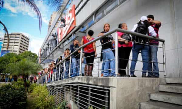 supermarket queue close up Venezeula