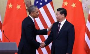 Barack Obama with China's President Xi Jinping.
