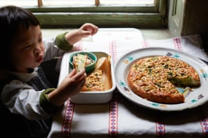 Cake... for lunch? Kids tuck into Claire's broccoli, feta and pine nut cake.