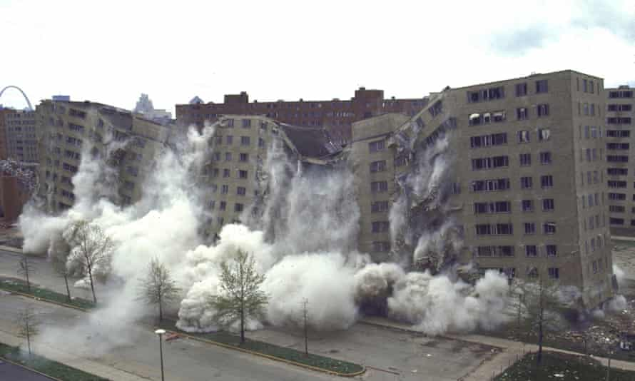 The second stage of demolition of the Pruitt-Igoe complex in April 1972.