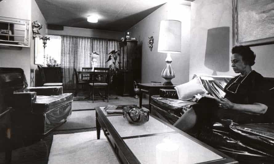Etta McCowan relaxes inside her Igoe apartment in April 1967.