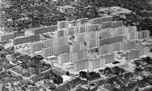 The Pruitt-Igoe public housing complex in St Louis, shortly after its completion in 1956.