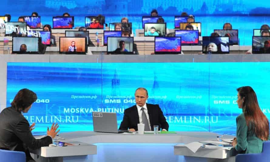 Vladimir Putin during an annual Q&A TV and radio session.