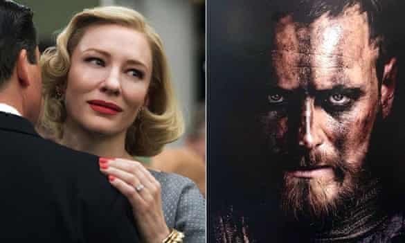 Cate Blanchett in Carol and Michael Fassbender in Macbeth