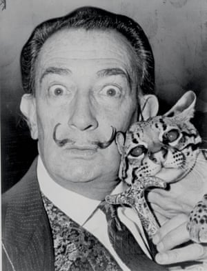 Puddy … Salvador Dalí and his pet ocelot.