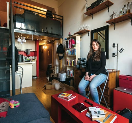 'I was surprised to be told that the 'before' picture doesn't look that messy, but that's the effect of shoving 80% of your crap into groaning cupboards and drawers.'