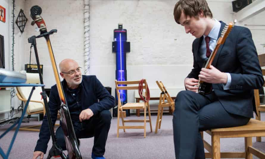 Brian Eno welcomes William Boyd (a.k.a. East India Youth) into his studio.