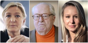 (L to R) The Front National party president, Marine Le Pen; the party's honorary president, Jean-Marie Le Pen; and Marion Maréchal-Le Pen, the party's deputy and rising star.