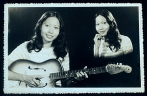 "The Girl and the Guitar 1983 ""When I went to the photo studio I was able to select the style of the images, The combining of photographs was well known in Cambodia and very popular. I really like the combination of these two photographs"""