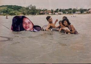 "Cutting Out the Memory, 1990   ""We were taken to Kampong Som with some friends of ours by an Australian family. The original photograph had my family and our friends in it, but we don't speak anymore so I cut them out and replaced them with a photograph of myself"""