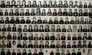 Photographs of genocide victims on the walls of the Tuol Sleng museum.
