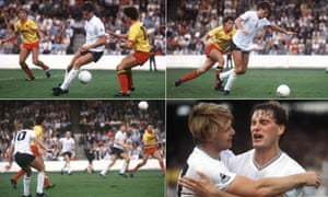 A composite picture showing Tottenham's Glenn Hoddle scoring his wonder goal against Watford, then celebrating with team-mate Garry Brooke.