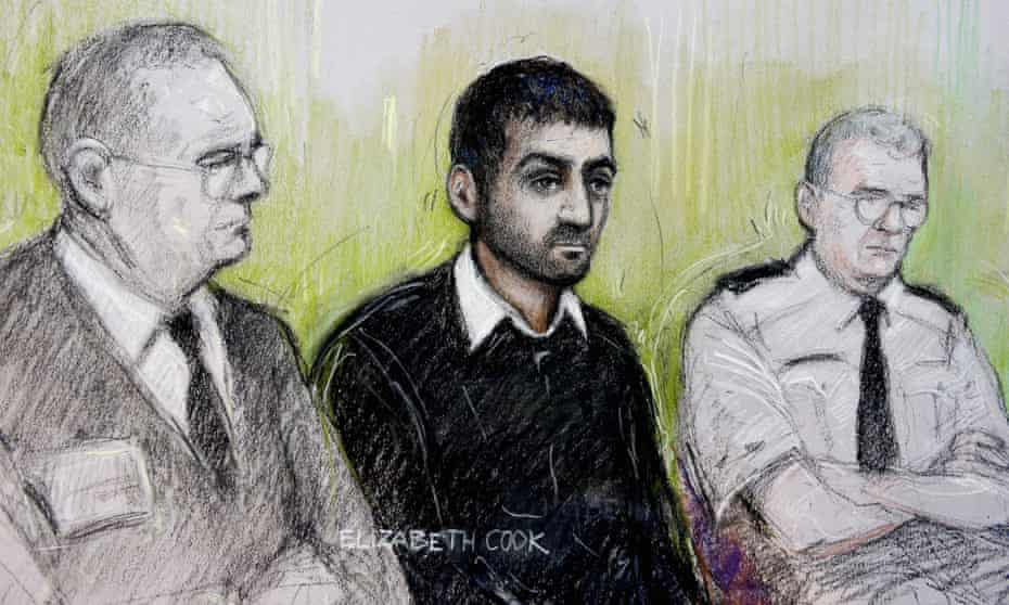 Court artist sketch dated of Erol Incedal (centre), at the Old Bailey, London.