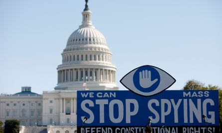 WASHINGTON D.C. - OCTOBER 26: A huge slogan board stands in front of the U.S. Capitol building during a protest against government surveillance on October 26, 2013 in Washington D.C.  Hundreds gathered here on Saturday demanding the U.S. Congress to investigate the U.S. National Security Agency (NSA) mass surveillance programs, ban blanket surveillance of telephone and Internet activity, and pursue accountability for any officials who misled lawmakers and the American people.   PHOTOGRAPH BY Xinhua /Landov / Barcroft Media  UK Office, London. T +44 845 370 2233 W www.barcroftmedia.com  USA Office, New York City. T +1 212 796 2458 W www.barcroftusa.com  Indian Office, Delhi. T +91 11 4053 2429 W www.barcroftindia.comAmericanCybergovernment surveillancePeopleProtestUnited StatesUS CapitolU.S. National Security AgencyWashington D.C.