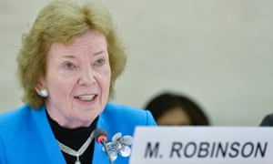 Mary Robinson, President of the Mary Robinson Foundation, Climate Justice during the panel the topics Human Rights and climate change in Geneva on 6 March  2015.