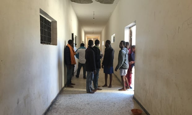 A corridor inside Libya's Zawya detention centre