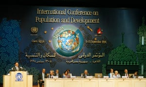 President Hosni Mubarak (extreme left) of Egypt addresses the International Conference on Population and Developments on 5 September 1994. The International Conference on Population and Developments meets in Cairo to produce a Programme of Action that will become a blueprint for global population policy for the next twenty years.