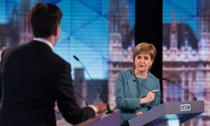 Ed Miliband and Nicola Sturgeon take part in the Live BBC Election Debate 2015.