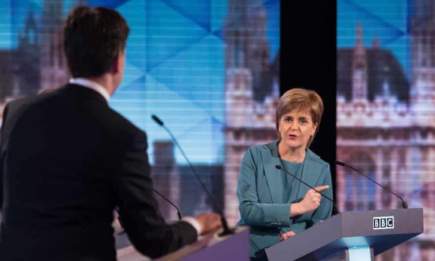 Ed Miliband and Nicola Sturgeon take part in the Live BBC Election Debate 2015.