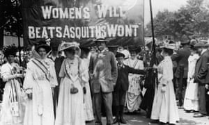 Suffragettes lead a Hyde Park procession in June 2008