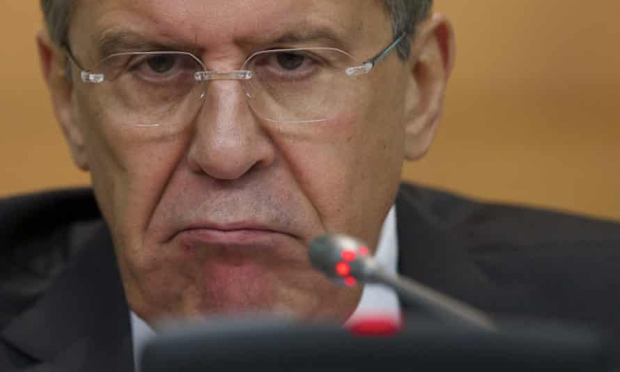 Sergei Lavrov glares at the press in Moscow.