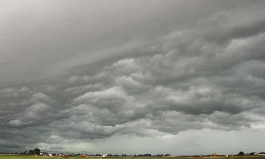 A storm front moves over Iowa.