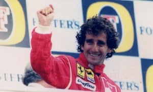 Alain Prost after winning the British grand prix in 1990.