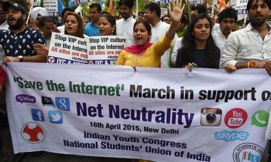 Activists of Indian Youth Congress and National Students Union of India shout anti-government slogans during a protest in support of net neutrality in New Delhi