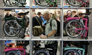 Brompton folding bikes on display at the London Bike Show at ExCeL.