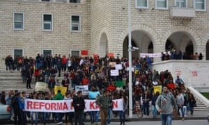 Student march in Tirana against privatisation of higher education