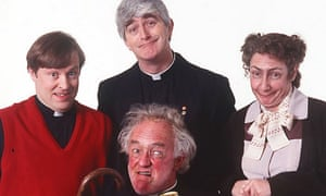 The cast of Father Ted, l to r: Ardal O'Hanlon (Father Dougal McGuire); Dermot Morgan (Father Ted Crilly); Frank Kelly (Father Jack Hackett); Pauline McLynn (Mrs Doyle).
