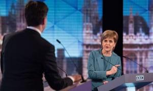 Ed Miliband and Nicola Sturgeon during the BBC's live election debate.