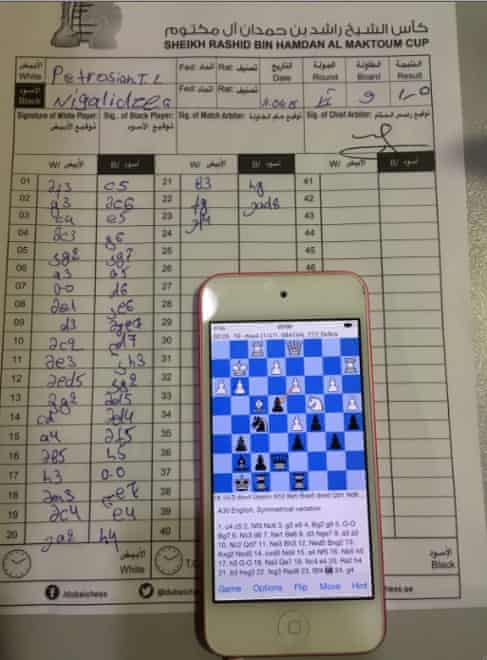 The iPhone and match sheet confiscated from Gaioz Nigalidze at the Dubai chess tournament