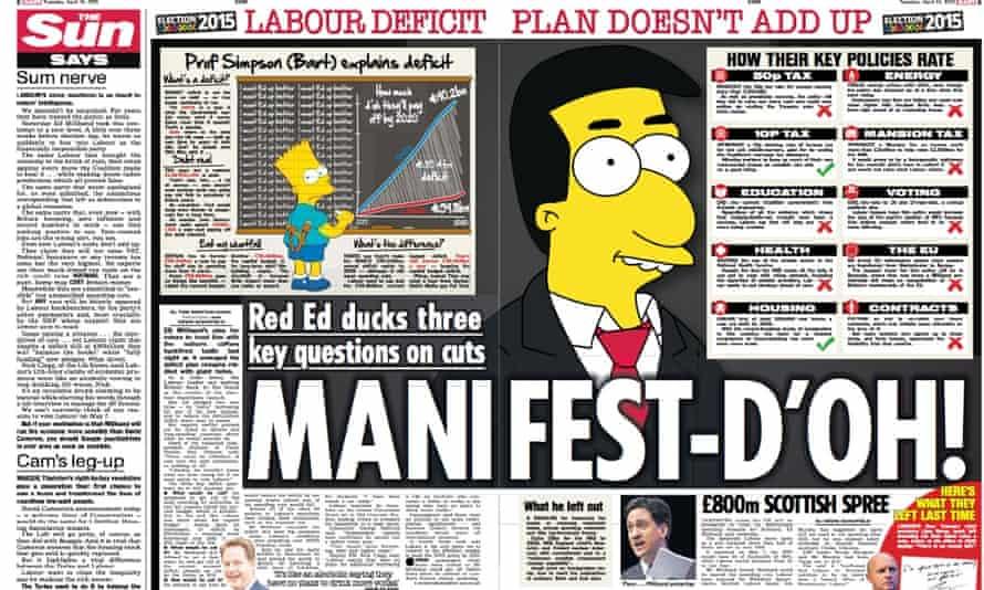 The Sun's spread attacking Ed Miliband's manifesto