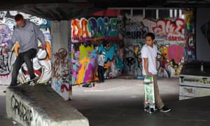 Skateboarders at the Southbank Centre undercroft in London.