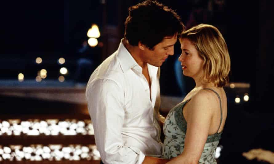 Renee Zellweger as Bridget Jones with Hugh Grant as Daniel
