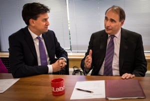 Labour leader Ed Miliband and David Axelrod talk at Labour party headquarters. 'His resilience has become a great story in itself,' Axelrod says.