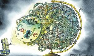 David Simonds cartoon showing Google's control of the globe