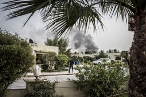 Smoke rises on the horizon after a car bomb exploded in central Erbil, Iraq, killing three people. The suicide bomber tried to get near the US consulate but was shot by local security moments before he reached the building.  The bombing was claimed by Islamic State