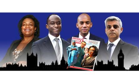 L-r: Labour's Diane Abbott, Conservative MP Sam Gyimah, and Labour MPs Chuka Umunna and Sadiq Khan.
