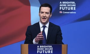 Chancellor George Osborne at the launch of the Conservative party manifesto.