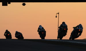 Le Mans, France Riders compete at dawn during the 38th edition of the Le Mans 24 hours moto endurance race